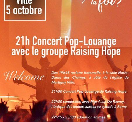 Synode: concert Pop-Louange à Martigny